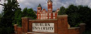 Auburn University sign and Samford Hall