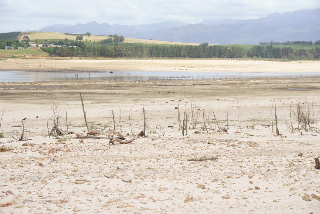 The dwindling water levels at Theewaterskloof Dam, Cape Town's main source of water.