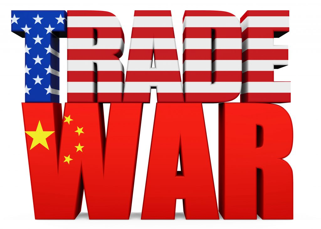"""Word """"TRADE WAR"""" with United States and Chinese Flag isolated on white background. Trade war Concept 3D render"""