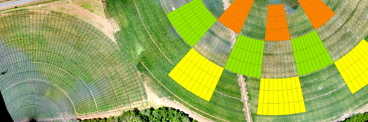 UAS drone scan of chemicals and watershed usage on a farm field. UAV drone research.