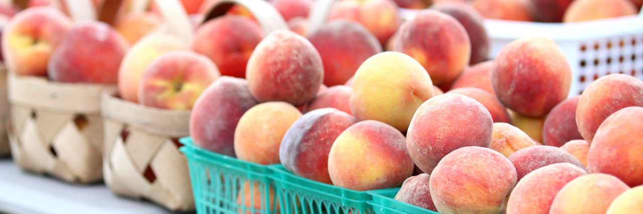 Baskets of fresh fruit peaches in piles. Peach fruit Clanton AL research.