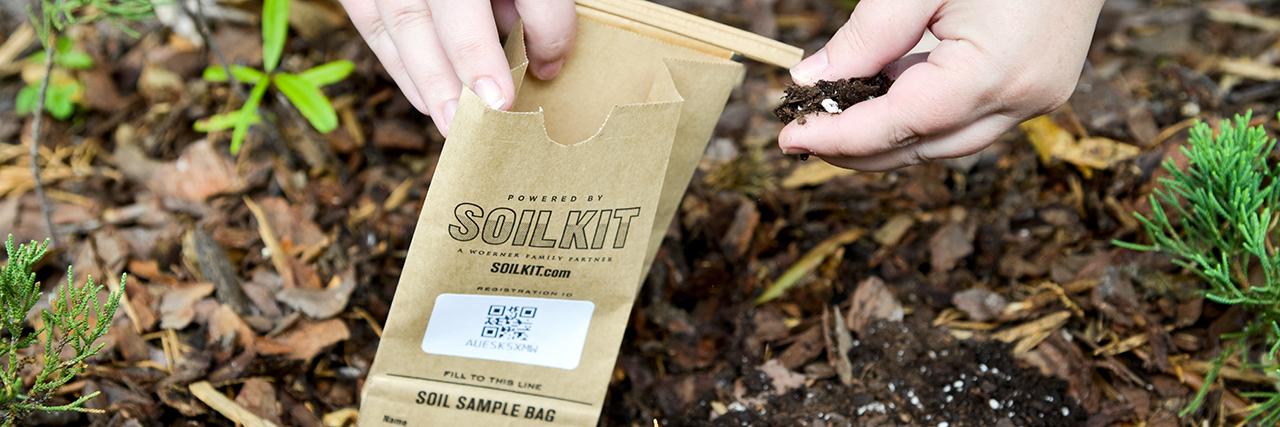 Auburn Soil Sample Bag being filled with soil to test by Soilkit