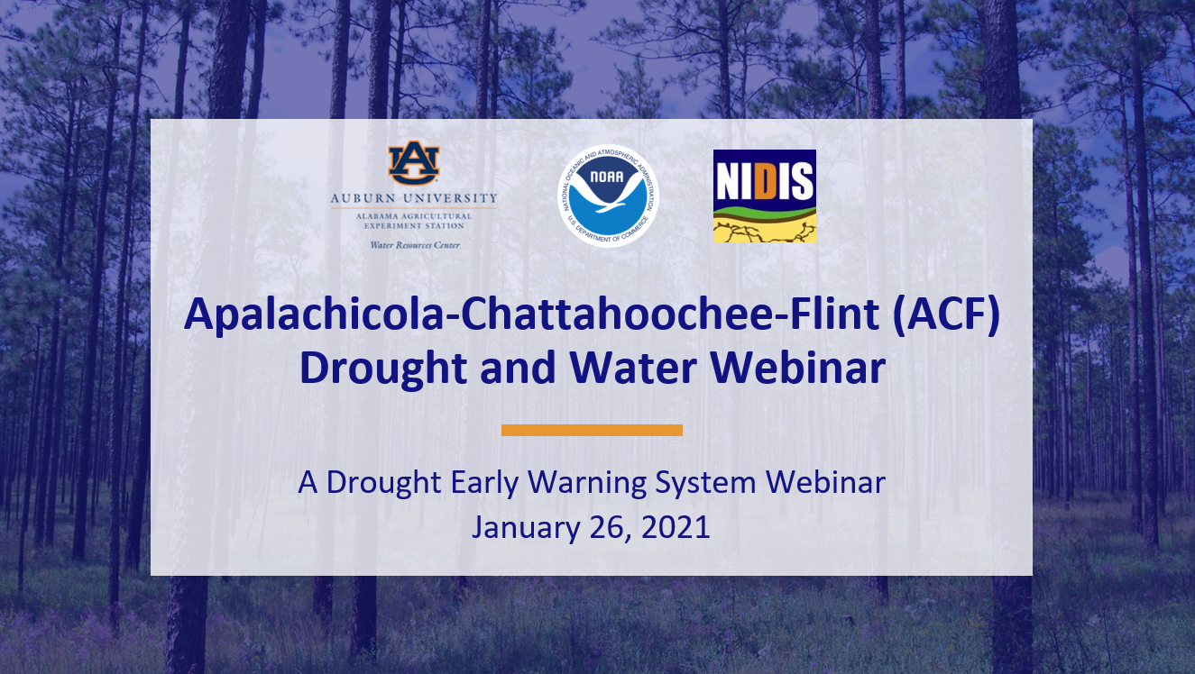 Apalachicola-Chattahoochee-Flint (ACF) Drought and Water Webinar, A drought Early Warning System Webinar, Jan 26, 2021
